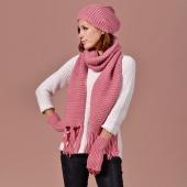 4 Colors Stylish New Women Pure Color Soft Warm Long Scarf + Fingerless Gloves + Hat 3PCS Suit