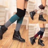 Women's Fashion Gradient-Color Winter Warm Patchwork Crochet Knitted Girls Gaiters Boot Socks