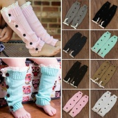Children Kids Girls Knitted Button Cover Lace Bowknot over Thigh-High Sock Knitted Boot Sock Leg Warmers