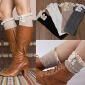 Women's Fashion Lace Button Crochet Knitted Girls Gaiters Boot Socks