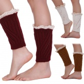 Women's Fashion Winter Warm Lace Crochet Knitted Girls Gaiters Boot Socks