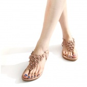 Women Gladiator Flat Sandal T-strap Thong Flip Flops Style Shoes