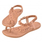Wome Girls New Bohemia Flower Beads Flip-flop Shoes Flat Sandals Pink/White