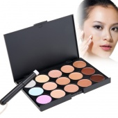 Stylish Women's Makeup Cosmetics Tools Set 15 Colors Creamy Concealer Kit And 1 Brush