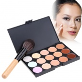 Fashion Women's Makeup Cosmetics Tools Set 15 Colors Creamy Concealer Kit And 1 Brush