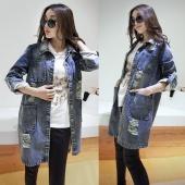 Stylish Korean Women's Loose Casual Denim Jeans Clothes Tops Coat