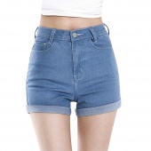 Korea Style New Fashion Women Summer High Waist Crimping Denim Shorts Jeans Shorts