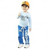Fashion Children Boys Casual Sports Letter Print Badge Elastic Waist Long Pants Trousers
