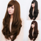 Fashion Women Long Wig Synthetic Hair Wigs Oblique Bangs Long Wavy Artificial Hair