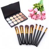 Fashion 15 Colors Contour Face Cream Makeup Concealer Palette with 8pcs Powder Brushes