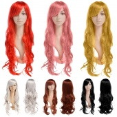 Fashion Women's Bright Color Long Curly Wavy Costume Comic Party Wig