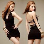 Sexy Deep V-neck Halter Backless Lingerie Black Nightclub Bodycon Mini Dress with G-string