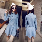 Stylish Lady Women Turn Down Neck Long Sleeve Front Button Pockets Denim Casual Party Slim Mini Pleated Dress