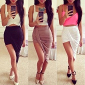 Women Casual New Fashion Sexy Package Hip Cut Out Asymmetrical Skirt