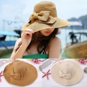 Fashion Women's Foldable Wide Brim Bowknot Decoration Beach Straw Hat Cap