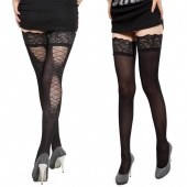 Fashion Women Slim Bodycon High Elastic Sexy Hollow Out Lace Splicing Stocking