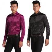Men New Fashion Long Sleeve Lapel Business Slim Fit Satin Dress Shirts