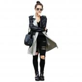 Korea Fashion Women's Casual Black High Waist Hole Knee Skinny Pencil Pants Slim Trousers