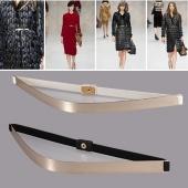 Fashion Alloy Metallic Plate Slim Simple Band Elastic Metal Waist Belt