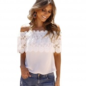 Stylish Lady Women's Off Shoulder Lace Splicing Sexy Chiffon Patchwork Tops Blouse