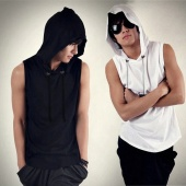 Men Fashion Sleeveless Loose Hoody Solid Tank Tops Pullover Hoodies Casual T-Shirt