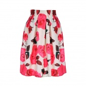 Fashion Women's Retro Style Rose Red Floral Printed Casual Party Pleated Midi Skirts