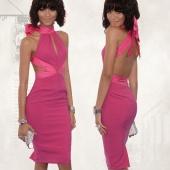 Stylish Lady Women's Fashion Sexy Slim Backless Bandage Bowknot Dress