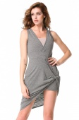 Stylish Women's Fashion Sleeveless Sexy Slim Deep V-Neck Irregular Hem Dress