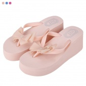 Fashion Lady Women's Casual Candy Colors Bow High Heel Trifle Sandals Slippers
