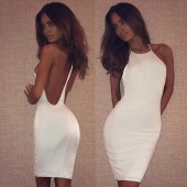 Stylish Lady Women Sexy O-Neck Strap Backless Dress Bodycon Casual Club Package Hip Pencil Dress
