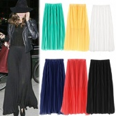 Stylish Lady Women's Fashion Summer Solid Sexy Chiffon Long Pleated A-line Skirt