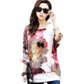 Stylish Lady Women's New Fashion Batwing Sleeve O-neck Watercolor Print Chiffon T-Shirt