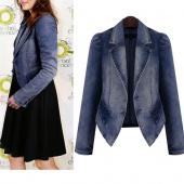 Fashion Women Denim Jean Jacket Front Buttons Basic Coat