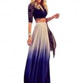 Stylish Lady Women Casual Chiffon Gradient Skirt High Waist Long Pleated Elegant Skirt