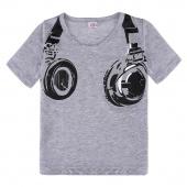 Boys Casual Summer Headphone Pattern Short Sleeve Tops T-shirt