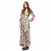 Lady Women Bohemian Sexy Deep V-Neck Floral Tunic Beach Cocktail Pleated Long Dress