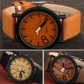 Casual Unisex Wood Grain Synthetic Leather Strap Watch round Dial Quartz Watch Wristwatches
