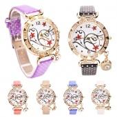 Fashion Women Synthetic Leather Dot Band round Quartz Analog Pendant Wristwatch