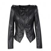 Women's Fashion Unique New O-Neck Slim Short Synthetic Leather Jacket Coat