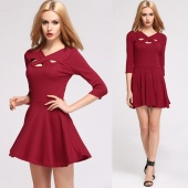 Stylish Lady Women's Fashion Sexy Hollow Out Cross V-Neck Short Pleated Dress