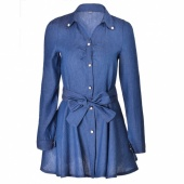 Fashion Women Denim Dress Long Sleeve Lapel Collar Bow Sashes Decoration