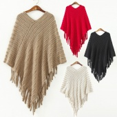 Women's New Fashion Oblique Stripe Tassels Wraps Cape Sweater Knitwear