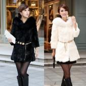 Women Winter Warm Faux Fur Coat Padded Collar Coats Jackets Outerwear