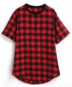 Fashion Men's Tartan Short Sleeve Leisure Long Loose T-shirt Shirt