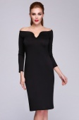 Women Ladies Sexy Off-Shoulder Slim Fitting Cocktail Party Evening Dresses Black Bodycon Dress