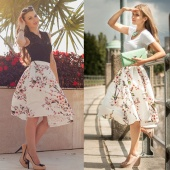 Stylish Lady's Casual Peach Blossom Printed Mid-calf White Skirt