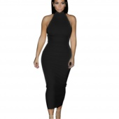 Stylish Women's Ladies Sleeveless Turtle Neck Slim Fitting Bodycon Party Cocktail Pencil Dress