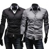 Men Fashion Korean Style Shirt Slim Fit Turn Down Collar Long Sleeve Wear to Work Shirt