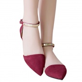 Fashion Women's Leisure Buckle Strap Tip Beak Pointed Toe Ankle Chain Thin Slip on Flat Shoes
