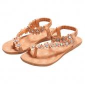 Summer Bohemia Women Ladies Floral Flat Heels Gladiator Sandals Flip Flops Thong Slipper